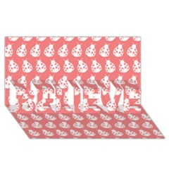 Coral And White Lady Bug Pattern Believe 3d Greeting Card (8x4)  by creativemom
