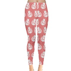 Coral And White Lady Bug Pattern Women s Leggings by creativemom