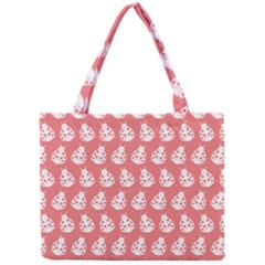 Coral And White Lady Bug Pattern Tiny Tote Bags