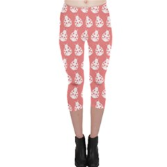 Coral And White Lady Bug Pattern Capri Leggings by creativemom