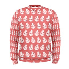 Coral And White Lady Bug Pattern Men s Sweatshirts by creativemom