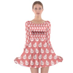 Coral And White Lady Bug Pattern Long Sleeve Skater Dress