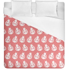 Coral And White Lady Bug Pattern Duvet Cover Single Side (KingSize) by creativemom