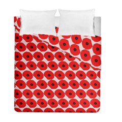 Red Peony Flower Pattern Duvet Cover (Twin Size) by creativemom