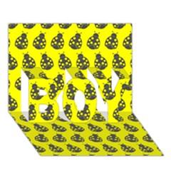 Ladybug Vector Geometric Tile Pattern Boy 3d Greeting Card (7x5)