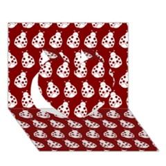 Ladybug Vector Geometric Tile Pattern Heart 3d Greeting Card (7x5)  by creativemom