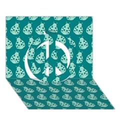 Ladybug Vector Geometric Tile Pattern Peace Sign 3d Greeting Card (7x5)