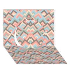 Trendy Chic Modern Chevron Pattern Circle 3D Greeting Card (7x5)