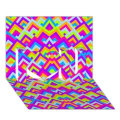 Colorful Trendy Chic Modern Chevron Pattern I Love You 3d Greeting Card (7x5)  by creativemom
