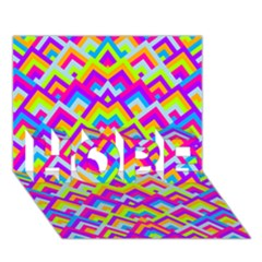 Colorful Trendy Chic Modern Chevron Pattern Hope 3d Greeting Card (7x5)