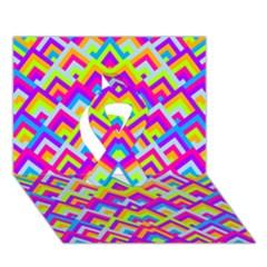 Colorful Trendy Chic Modern Chevron Pattern Ribbon 3D Greeting Card (7x5)  by creativemom
