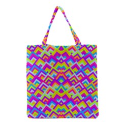 Colorful Trendy Chic Modern Chevron Pattern Grocery Tote Bags by creativemom