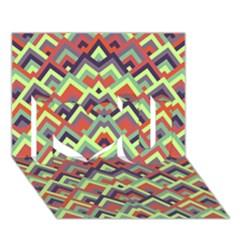 Trendy Chic Modern Chevron Pattern I Love You 3d Greeting Card (7x5)  by creativemom