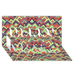 Trendy Chic Modern Chevron Pattern Merry Xmas 3d Greeting Card (8x4)  by creativemom