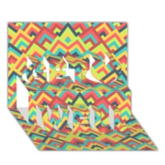Trendy Chic Modern Chevron Pattern Get Well 3d Greeting Card (7x5)