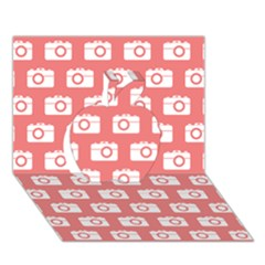 Modern Chic Vector Camera Illustration Pattern Apple 3d Greeting Card (7x5)  by creativemom