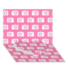 Pink Modern Chic Vector Camera Illustration Pattern Heart Bottom 3d Greeting Card (7x5)  by creativemom