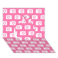 Pink Modern Chic Vector Camera Illustration Pattern Apple 3d Greeting Card (7x5)