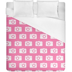 Pink Modern Chic Vector Camera Illustration Pattern Duvet Cover Single Side (double Size) by creativemom
