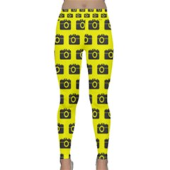 Modern Chic Vector Camera Illustration Pattern Yoga Leggings by creativemom