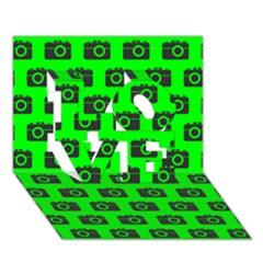Modern Chic Vector Camera Illustration Pattern Love 3d Greeting Card (7x5)