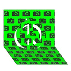 Modern Chic Vector Camera Illustration Pattern Peace Sign 3d Greeting Card (7x5)