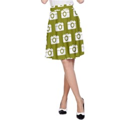 Modern Chic Vector Camera Illustration Pattern A-Line Skirts by creativemom