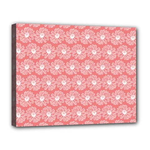 Coral Pink Gerbera Daisy Vector Tile Pattern Canvas 14  X 11
