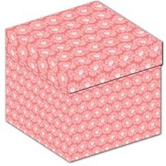 Coral Pink Gerbera Daisy Vector Tile Pattern Storage Stool 12