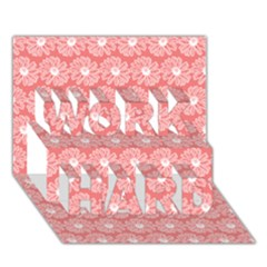 Coral Pink Gerbera Daisy Vector Tile Pattern Work Hard 3d Greeting Card (7x5)