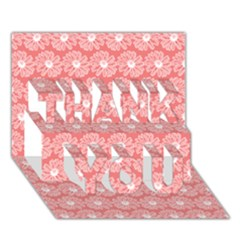 Coral Pink Gerbera Daisy Vector Tile Pattern Thank You 3d Greeting Card (7x5)