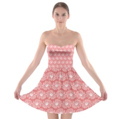 Coral Pink Gerbera Daisy Vector Tile Pattern Strapless Bra Top Dress