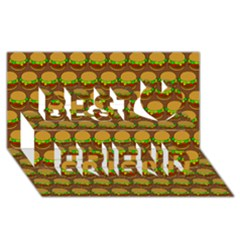 Burger Snadwich Food Tile Pattern Best Friends 3d Greeting Card (8x4)  by creativemom