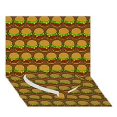Burger Snadwich Food Tile Pattern Heart Bottom 3d Greeting Card (7x5)