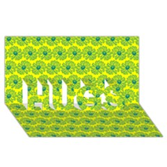 Gerbera Daisy Vector Tile Pattern Hugs 3d Greeting Card (8x4)