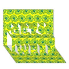 Gerbera Daisy Vector Tile Pattern Get Well 3d Greeting Card (7x5)