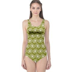 Gerbera Daisy Vector Tile Pattern Women s One Piece Swimsuits by creativemom