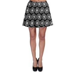 Black And White Gerbera Daisy Vector Tile Pattern Skater Skirts by creativemom
