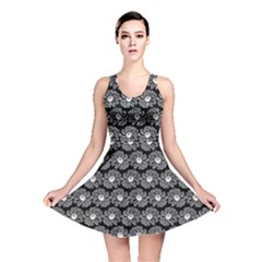 Black And White Gerbera Daisy Vector Tile Pattern Reversible Skater Dresses by creativemom