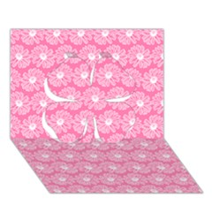 Pink Gerbera Daisy Vector Tile Pattern Clover 3d Greeting Card (7x5)