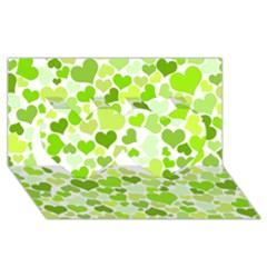 Heart 2014 0908 Twin Hearts 3d Greeting Card (8x4)