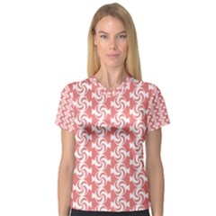 Candy Illustration Pattern  Women s V-Neck Sport Mesh Tee