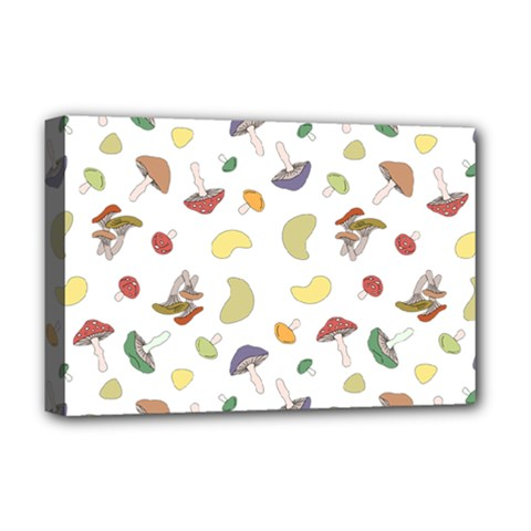 Mushrooms Pattern Deluxe Canvas 18  X 12   by Famous