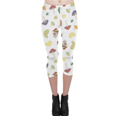 Mushrooms Pattern Capri Leggings by Famous