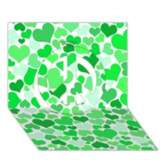 Heart 2014 0913 Peace Sign 3d Greeting Card (7x5)  by JAMFoto
