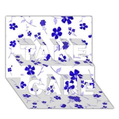 Sweet Shiny Flora Blue Take Care 3d Greeting Card (7x5)  by ImpressiveMoments