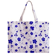 Sweet Shiny Flora Blue Zipper Tiny Tote Bags by ImpressiveMoments