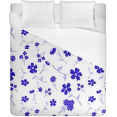 Sweet Shiny Flora Blue Duvet Cover Single Side (Double Size) by ImpressiveMoments