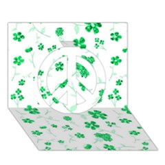 Sweet Shiny Floral Green Peace Sign 3d Greeting Card (7x5)
