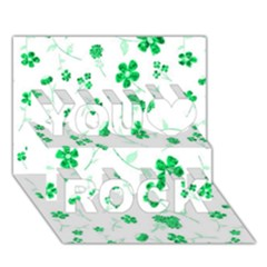 Sweet Shiny Floral Green You Rock 3d Greeting Card (7x5)